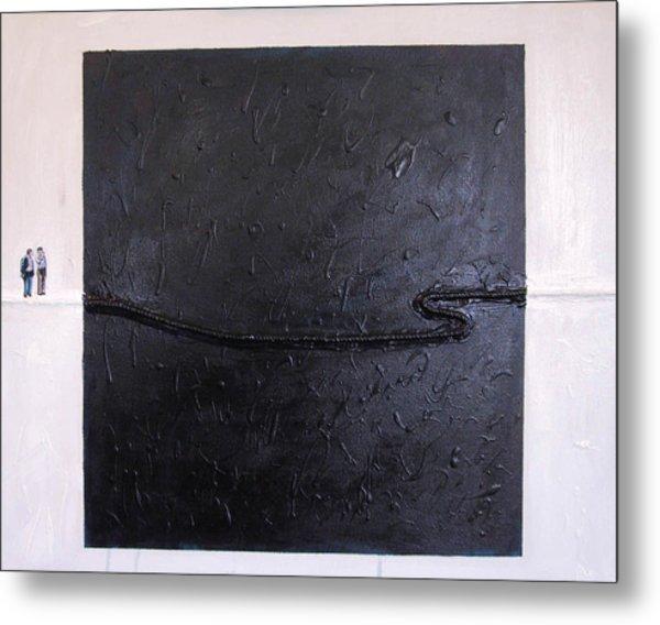 Explaining Modern Art Standing On An Elegant Line Metal Print by Kevin Callahan