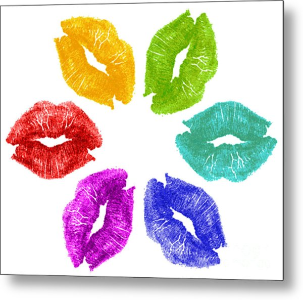 Lipstick Kisses In Color Metal Print by Blink Images