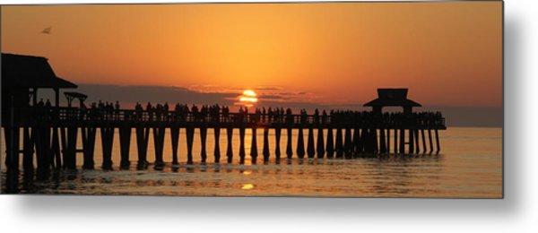 Naples Pier At Sunset Metal Print