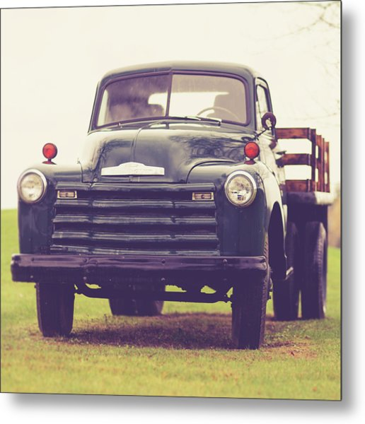 Old Chevy Farm Truck In Vermont Square Metal Print
