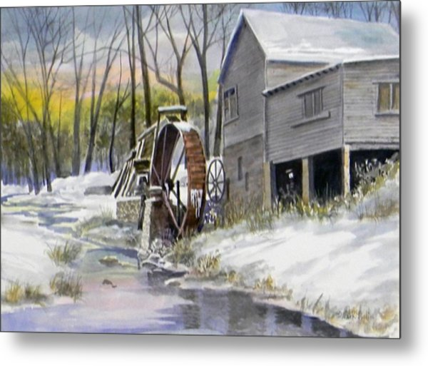 Old Mill In Winter  Sold Metal Print