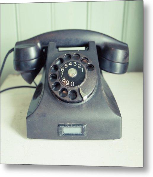 Old Telephone Square Metal Print