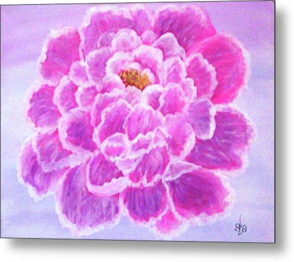 Metal Print featuring the painting Pink Peony by Sonya Nancy Capling-Bacle