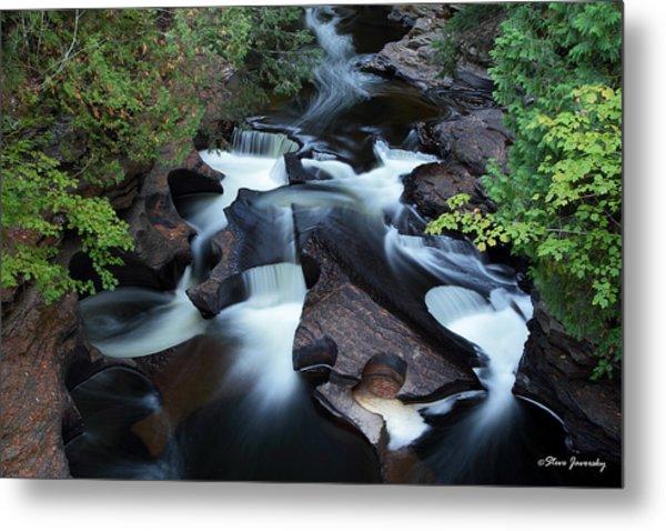 Presque Isle River Falls Metal Print