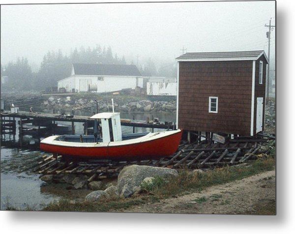 Red Fishing Boat In Fog Nova Scotia Metal Print by Richard Singleton