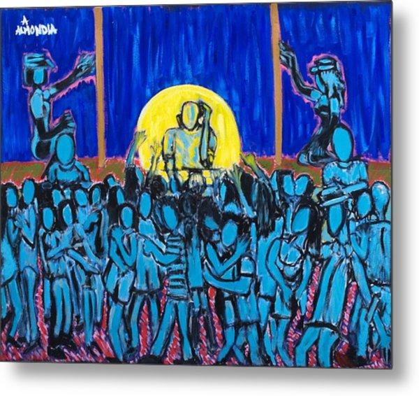 Rhythm Blue Metal Print by Albert Almondia