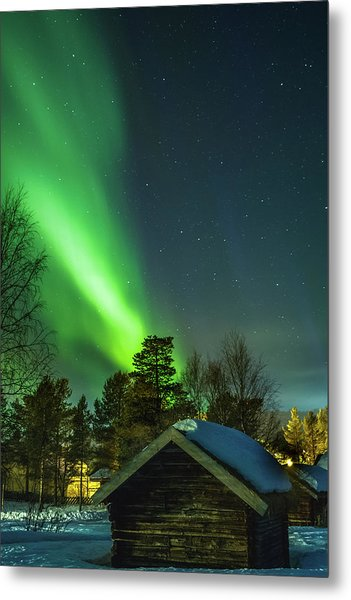 Sapmi Village Under The Northern Lights Karasjok Norway Metal Print