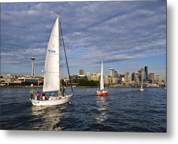 Space Needle Sail By Metal Print by Tom Dowd