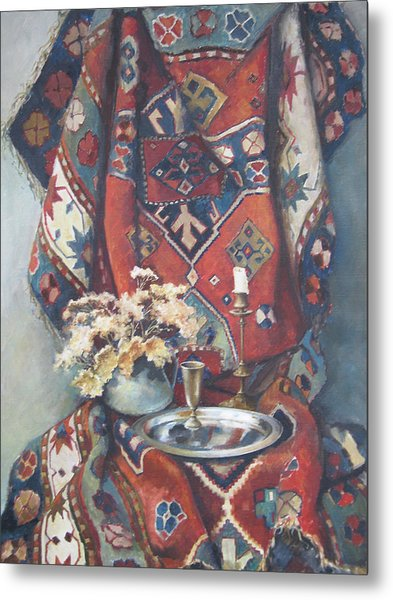Still-life With An Old Rug Metal Print