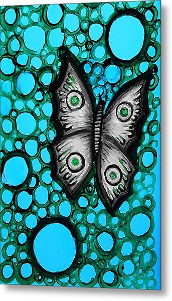 Teal Butterfly Metal Print by Brenda Higginson
