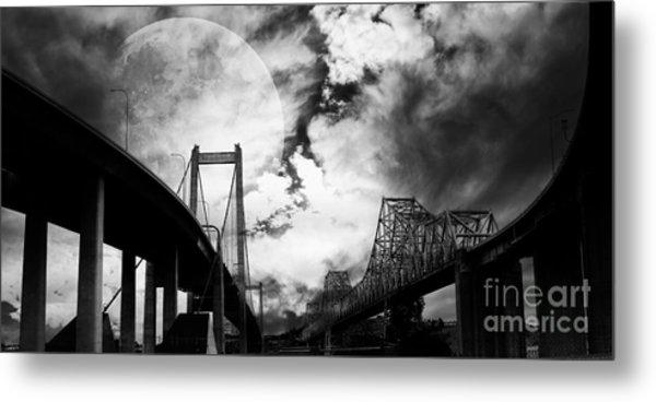 Two Bridges One Moon Metal Print