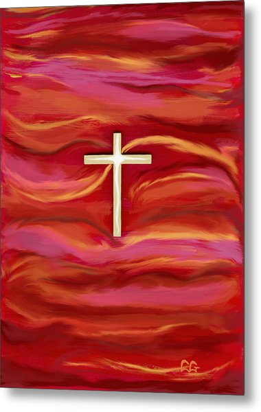 Wooden Cross Metal Print by BlondeRoots Productions