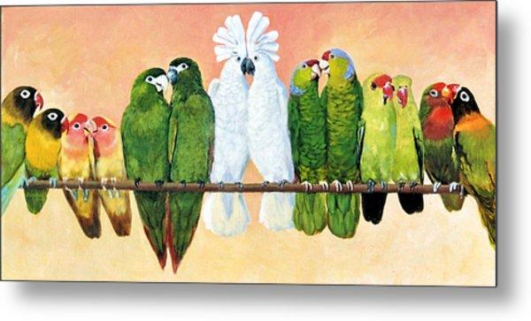 14 Birds On A Stick Metal Print