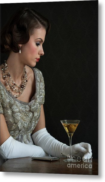 1930s Woman With A Cocktail Glass Metal Print
