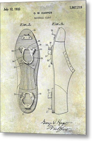 1932 Baseball Cleat Patent Metal Print