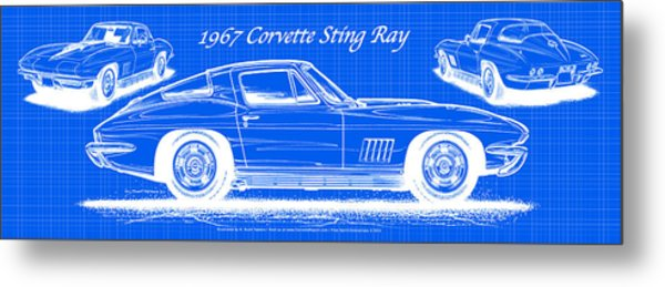 1967 Corvette Sting Ray Coupe Reversed Blueprint Metal Print