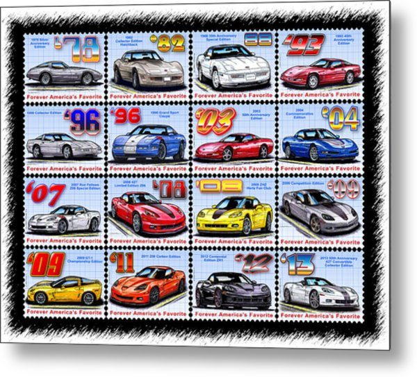 1978 - 2013 Special Edition Corvette Postage Stamps Metal Print