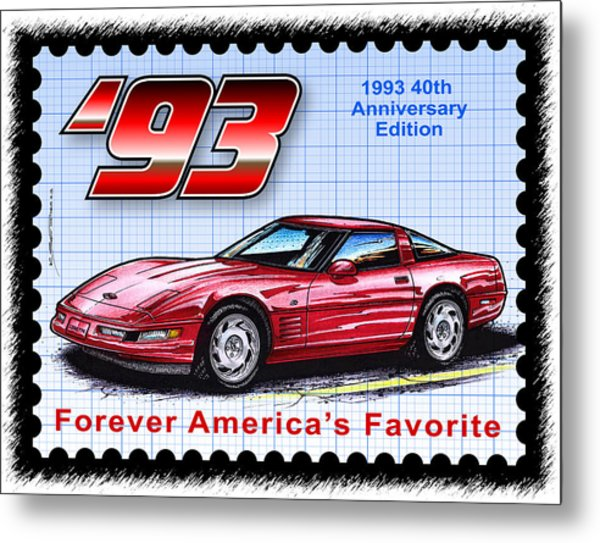 1993 40th Anniversary Edition Corvette Metal Print