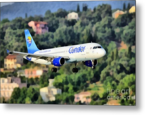 Arriving At Corfu Airport Metal Print
