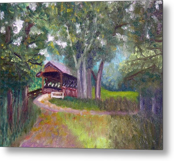 Avon Covered Bridge Metal Print by Stan Hamilton