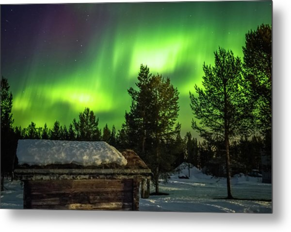 Sapmi Hut Under The Northern Lights Karasjok Norway Metal Print