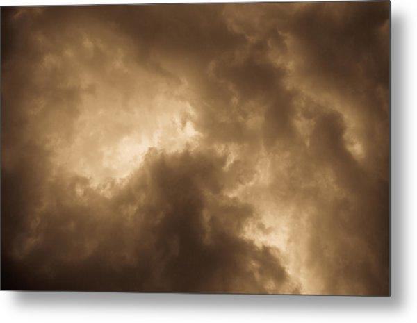 Sepia Clouds Metal Print
