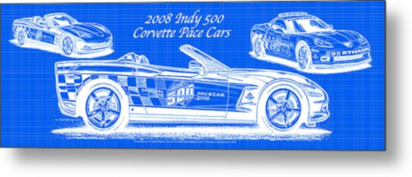2008 Indy 500 Corvette Pace Cars Blueprint Series - Reversed Metal Print