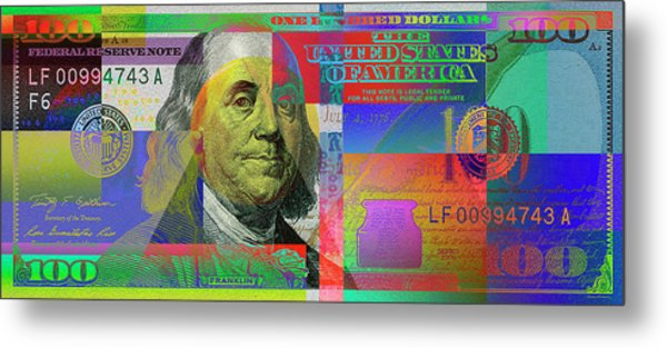 2009 Series Pop Art Colorized U. S. One Hundred Dollar Bill No. 1 Metal Print