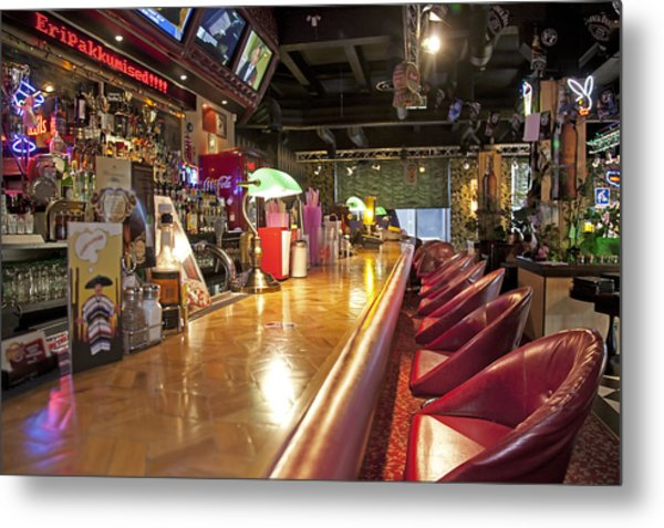 Bar At An American Style Diner Metal Print