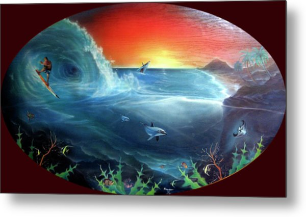 Sunset Surfer Metal Print by Sevan Thometz