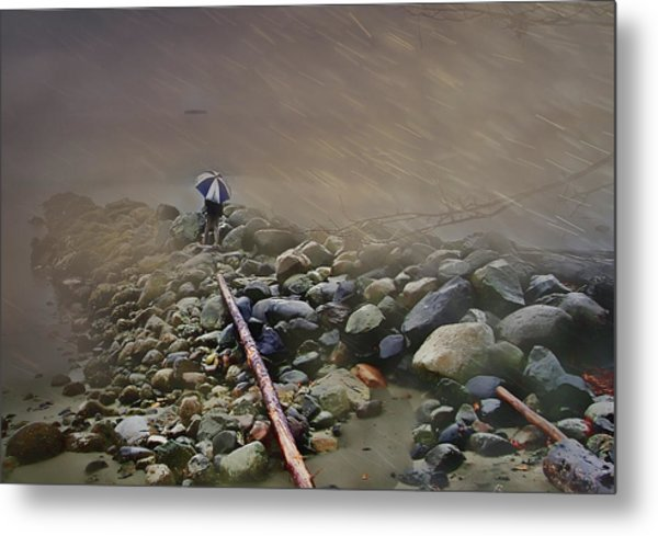 Umbrella On The Rocks Metal Print by Dale Stillman