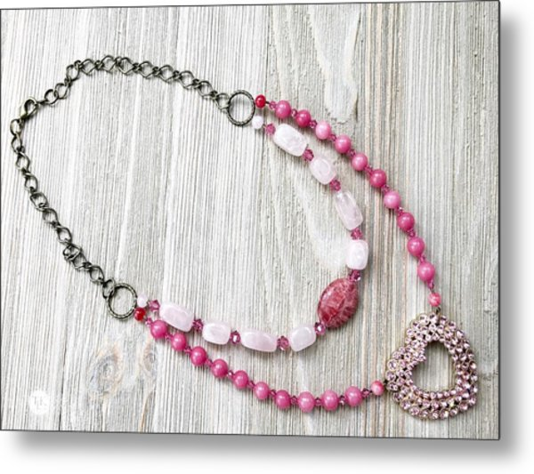 3727n Pretty In Pink Upcycled Faux Double Necklace Metal Print