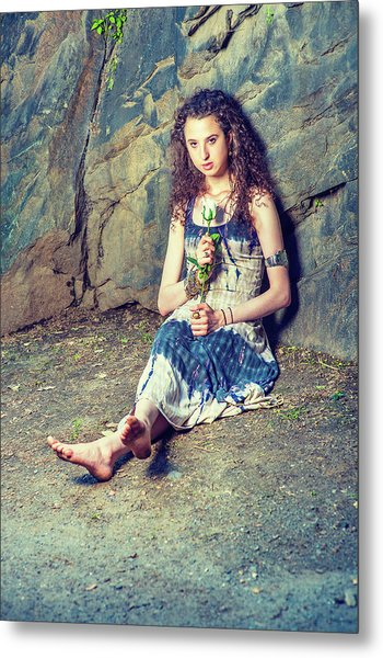 Young American Woman Missing You With White Rose In New York Metal Print