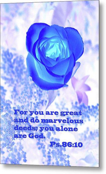 A Blue Rose Ps. 86 V 10 Metal Print by Linda Phelps