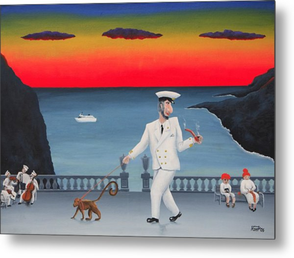 A Captain And His Monkey Metal Print by Poul Costinsky