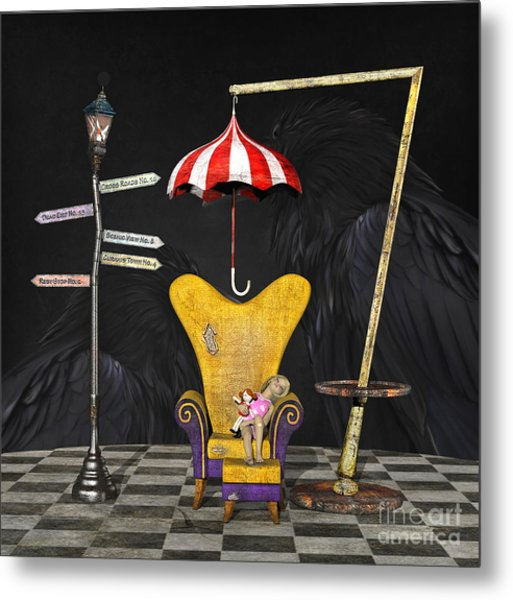 A Curious Bus Stop Metal Print