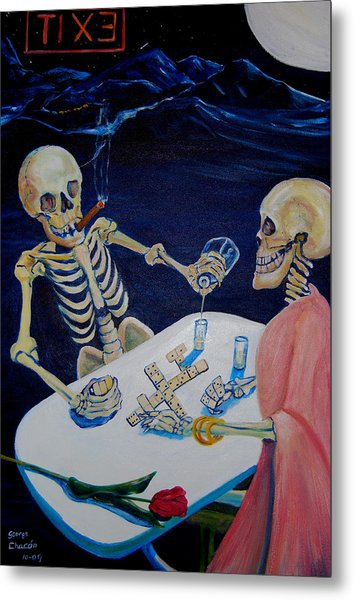 A Friendly Game Of Bones Metal Print by George Chacon