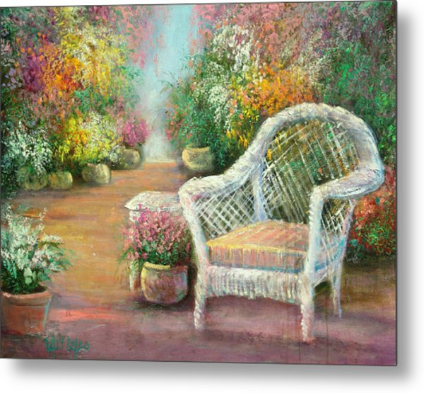 A Garden Chair Metal Print by Sally Seago