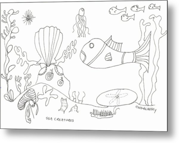 A Jellie And Sea Creatures Metal Print