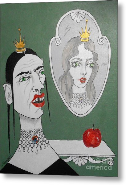 A Queen, Her Mirror And An Apple Metal Print