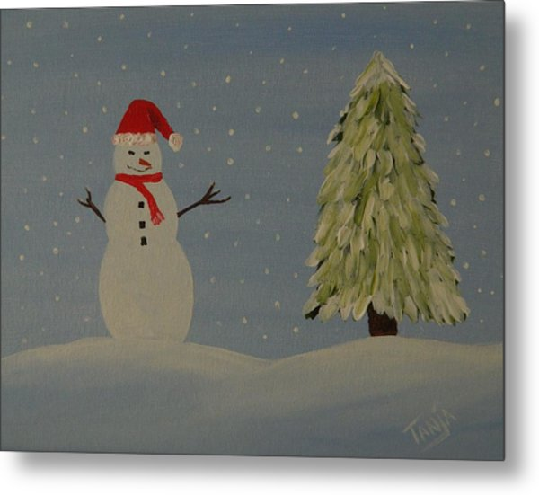 A Snowman's Christmas Metal Print