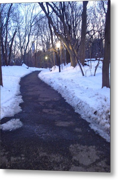 A Winter Scene In The City Metal Print