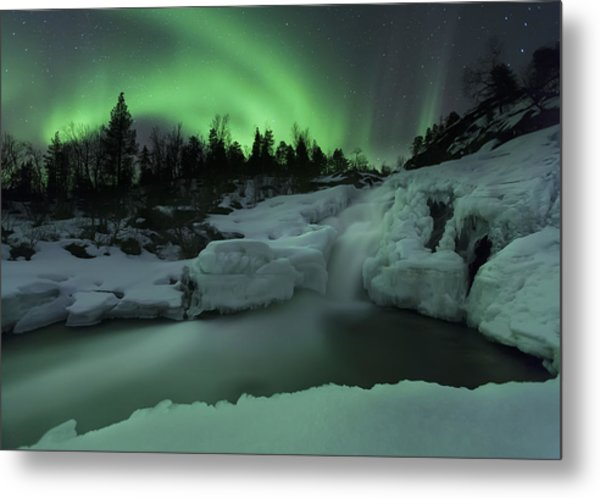 A Wintery Waterfall And Aurora Borealis Metal Print