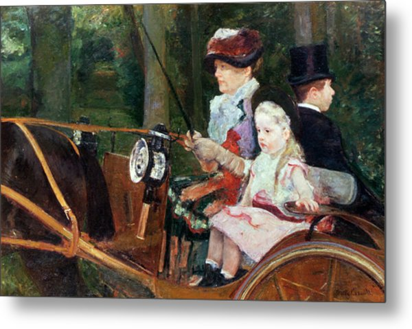 A Woman And Child In The Driving Seat Metal Print