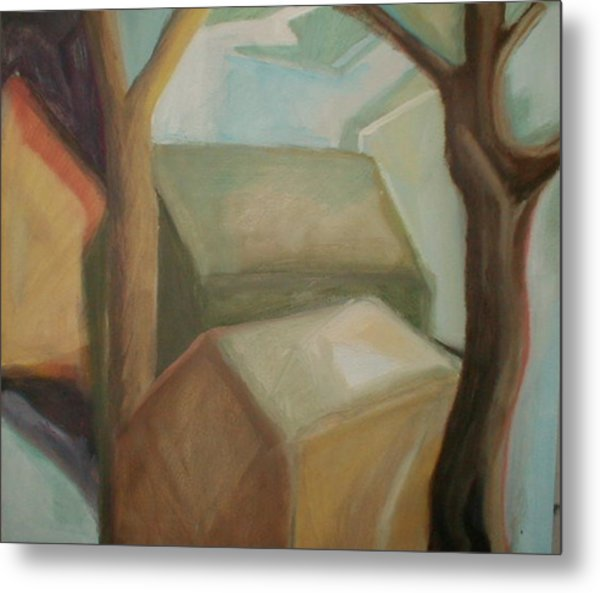 Abstract Backyard Metal Print