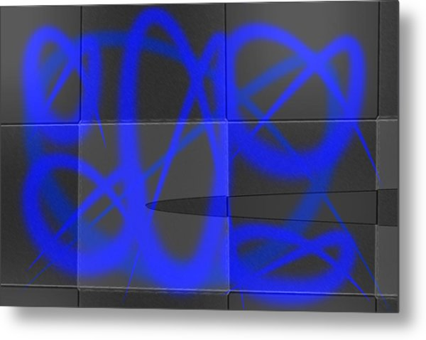 Abstract Graffitis In Blue Metal Print by Martine Affre Eisenlohr
