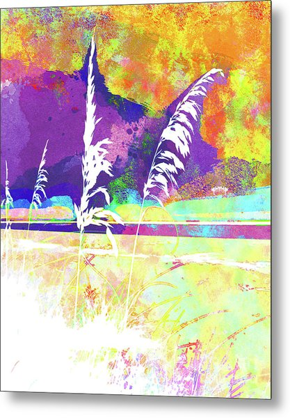 Abstract Watercolor - Morning Sea Oats II Metal Print