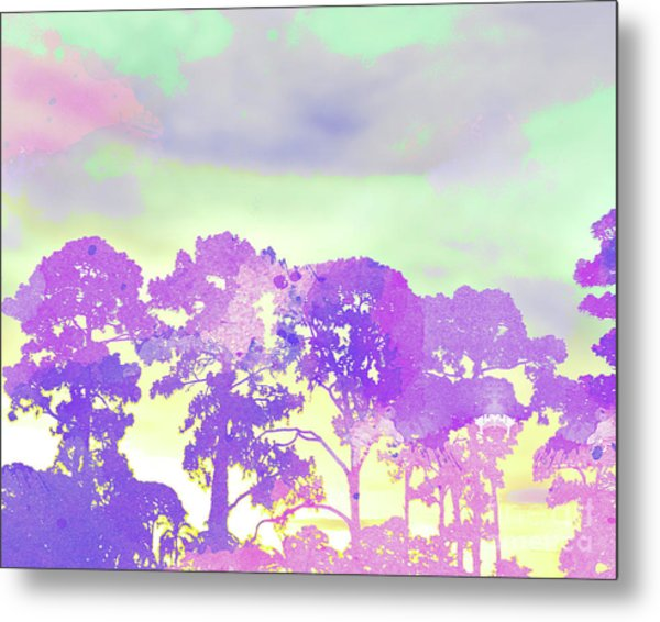 Abstract Watercolor - Sunset Trees Metal Print