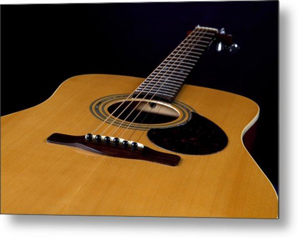 Acoustic Guitar  Black Metal Print