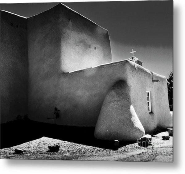 Adobe Church In B-w Metal Print